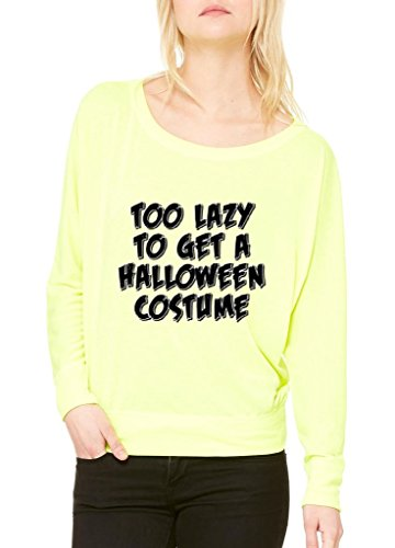 Xekia Too Lazy To Get a Halloween Costume Fashion Party People Best Friend Couple Gift Women Flowy Off Shoulder T-shirt X-Small Neon (Yellow Cat Costume Contact Lenses)