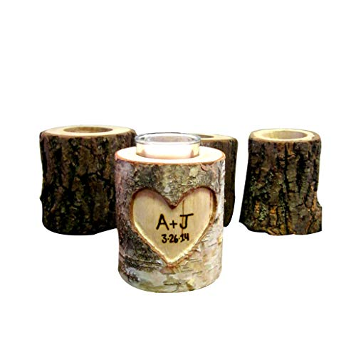 (Romantic Anniversary Gift, Handcarved Wood Log Personalized Rustic Wedding Candle Holder)