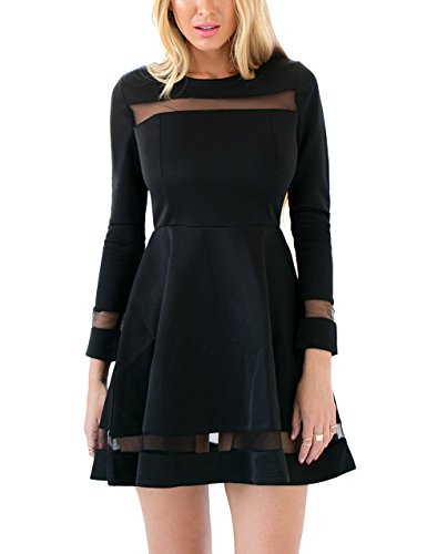 Grapent-Womens-Black-Cocktail-Long-Sleeve-Mesh-A-line-Skater-Short-Dress-Casual