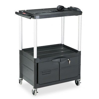 Rubbermaid Commercial Black Three Shelf Media Master AV Cart with Cabinet - Shelf Master Audio 3 Visual