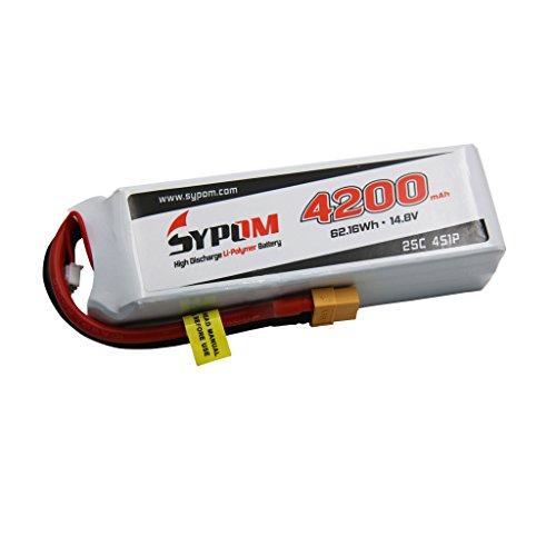 Sypom LiPo Battery Pack 4200mAh 14.8V 25C 4S with XT60 Plug for FPV ()
