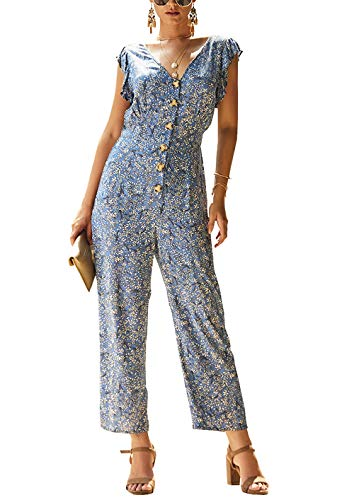 PRETTYGARDEN Womens Casual Button Front Ruffled Sleeveless V-Neck Floral Printed Long Pants Vintage Jumpsuit Romper