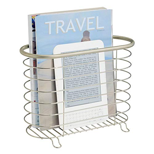 mDesign Decorative Modern Metal Magazine Holder and Organizer Bin - Standing Rack for Magazines, Books, Newspapers, Tablets in Bathroom, Family Room, Office, Den - Steel Wire Design - Satin ()