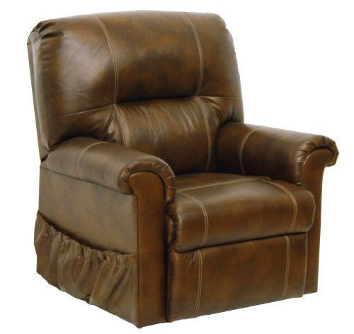 Catnapper Leather Power Lift Full Lay-Out Chaise Recliner , Brown