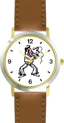 - Singer Imitating a Famous Rock & Roll Star (Cartoon) - WATCHBUDDY DELUXE TWO-TONE THEME WATCH - Arabic Numbers - Brown Leather Strap-Size-Children's Size-Small ( Boy's Size & Girl's Size )