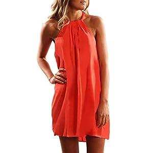 Asvivid Womens Casual Boho Halter Sleeveless Solid Summer Ladies Beach Mini Dress Sundress S Orange