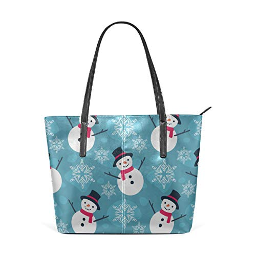 Laptop Tote Bag Christmas Snowflakes And Snowman Large Printed Shoulder Bags Handbag Pu Leather Top Handle Satchel Purse Lightweight Work Tote Bag For Women Girls