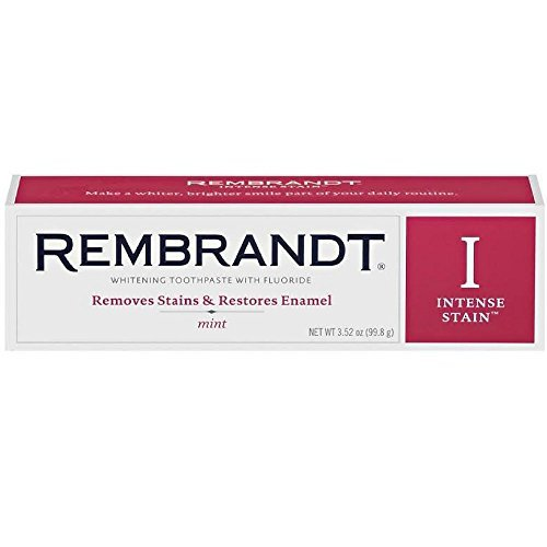 - Rembrandt Toothpaste, Intense Stain, Mint Flavor, 3-Ounce Tubes (Pack of 2)