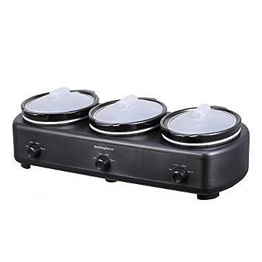 New Elite Platinum Triple Trio Slow Cooker Three 1.5-Quart Crocks Pot