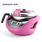 SHANGXIAN Electric Intelligent Woks Automatic Cooking Smokeless Non Stick Household Multifunctional Electromagnetic Wok,Pink