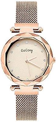 GOGOEY Reloj para Mujer, Análogo, con Detalles de Zirconias en la Carátula, Elegante, Formal, Corte Diamante,