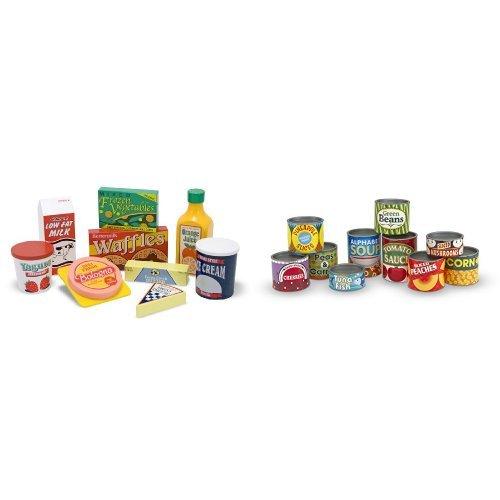 Doug Fridge Food (Melissa & Doug Fridge Food Set & Grocery Cans Bundle)