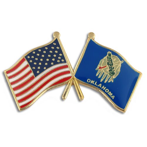 PinMart's Oklahoma and USA Crossed Friendship Flag Enamel Lapel Pin by PinMart