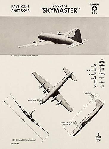 Douglas Skymaster - C-54 - R5D-1-1943 - World War 2 - Aircraft Recognition Poster