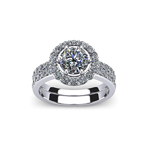 AGS Certified 2 Carat Total Weight Halo Diamond Bridal Set Engagement Ring With 1ct Center In 14 Karat White Gold
