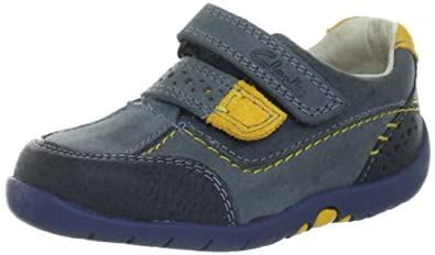 b0a34c245c96 Image Unavailable. Image not available for. Colour  Clarks Boy s Softly Lo  FST Blue Leather First Walking Shoes ...