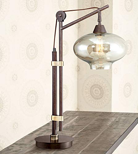 (Calyx Industrial Desk Table Lamp Antique Bronze Brass Cognac Glass Shade Edison Style for Living Room Bedroom Office - Franklin Iron Works )