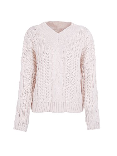 Simplee Women's Winter Warm Casual Loose Batwing Sleeve V Neck Pullover Sweater,Cream,US 0/10