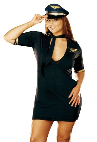 Plus Sized Sexy Costumes (Mile High Captain Costume - Plus Size 3X/4X - Dress Size 18-20)