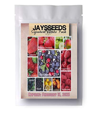 Huckleberry Raspberry - Orchard Bestsellers - Combo Pack Raspberry, BlackBerry, Blueberry, Strawberry, Apple 1,030 Seeds - Lemon, Huckleberry - 12 Varieties - 5 Plant Markers