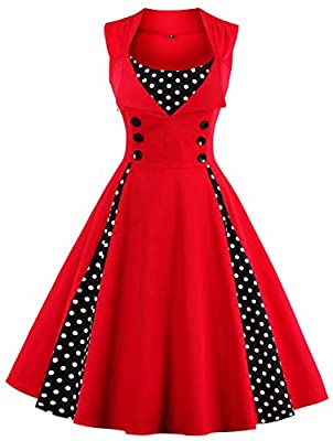 ANCHOVY Womens Vintage Sleeveless Polka Dot Audrey Hepburn Prom Cocktail Swing Dress C61