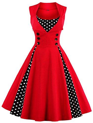 Womens Vintage Sleeveless Polka Dot Prom Cocktail Swing Audrey Hepburn Dress (Polka Dot Prom Dress)