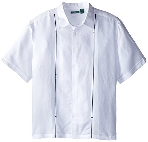 Cubavera Men's Big-Tall Short Sleeve Insert with Bar Tacks Woven Shirt, Bright White, 4X-Large/Tall
