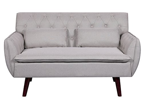 Container Furniture Direct Mid-Century Modern Button Tufted Upholstered Accent Loveseat with Two Pillows, Beige (Length Loveseat Standard)