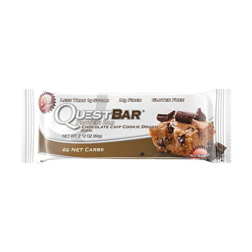 Quest Nutrition Protein Bar, Chocolate Chip Cookie Dough, 21g Protein, 4g Net Carbs, 200 Cals, High Protein Bars, Low Carb Bars, Gluten Free, Soy Free, 2.1 oz Bar, 12 Count