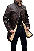 Brown Trench Coat Men - Distressed Black Genuine Leather Long Overcoat