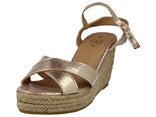 Ladies Metallic Faux Leather Snake Open Toe Sling Back Ankle Strap Raffia Wedge Mid Heel Summer Sandals Size 3-8 Pink WB4ezTU2