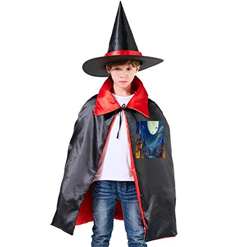 A Frightening Town Halloween Shawl and Witch Hat for Children Kids Red]()