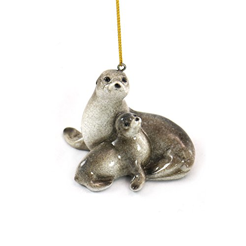WonderMolly Marine Life Collection Mom and Baby Seal Ornament