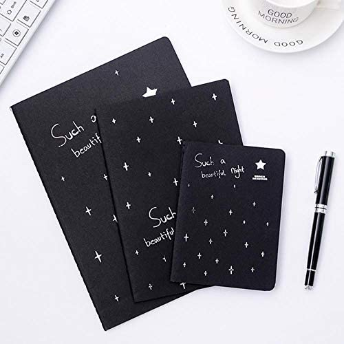 LASISZ Kreatives Notizbuch Schwarz Innenseite Tagebuch Nähen Binden Skizzenbuch Malen Zeichnen Zeichnen Für Kinder Mädchen Geschenke im koreanischen Stil, A4