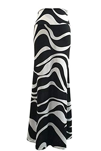 Novias Women Fashion Summer Printed High Waisted Beach Maxi Skirts Long Skirt(Zebra Print)