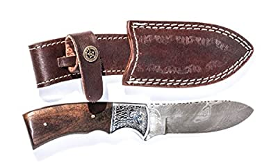 Insane Deal! Ends Today! Handmade Damscus Steel Hunting Knife with Leather Case By GIbson