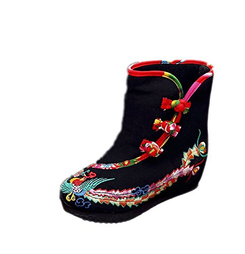 Lazutom Women Lady Vintage Embroidery Chinese Style Casual Canvas edge Heel Platform Ankle Boots Black