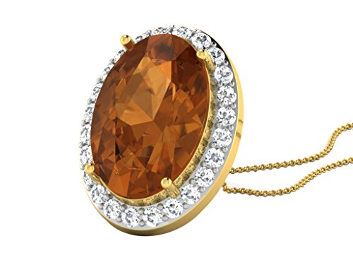 """Libertini 0.27Cts Diamonds & 4Cts Yellow Sapphire Pendant in 14KT Yellow Gold (GH Color, PK Clarity) with 16""""SilverChain"""