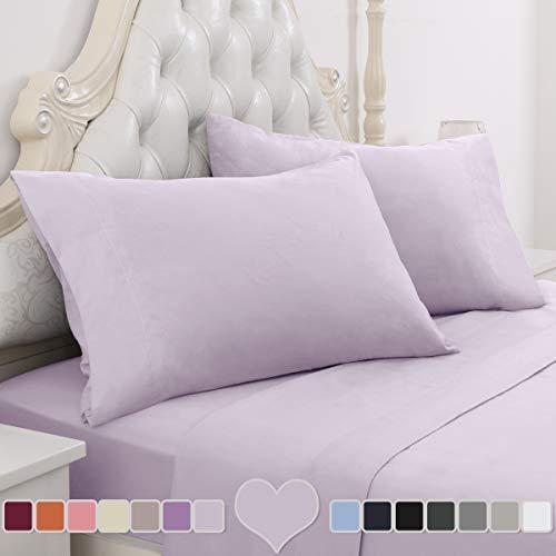 HOMEIDEAS 4 Piece Bed Sheet Set (Full, Lavender) 100% Brushed Microfiber 1800 Bedding Sheets - Deep Pockets, Hypoallergenic, Wrinkle & Fade Resistant