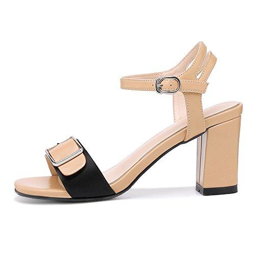 8CM Talon Métallique Ouvert Sangle Brown Sandales Compensées Chaussures Femmes Boucle 8985 Bout JZTC De High Cheville KJJDE U1Zzq0w