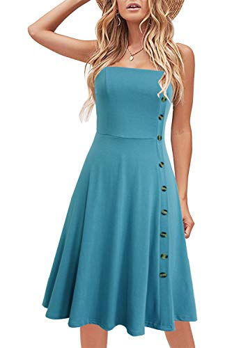 Liyinxi Sexy Sleeveless Knee Length Solid Cotton Fit and Flare Summer Wedding Party Button Down Light Blue Sundress (S, 8006-Light Blue)