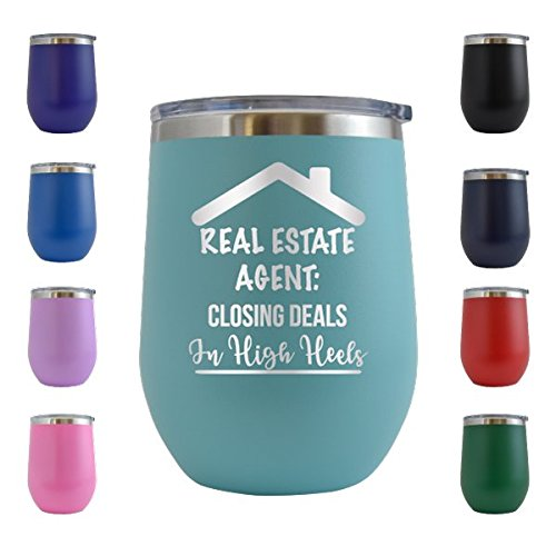 Royal Estate Green (I Close Deals In Heels - Real Estate Realtor Engraved 12 oz Wine Tumbler Cup Glass Etched - Funny Gifts for him, her, mom, dad, husband, wife (Teal - 12 oz))
