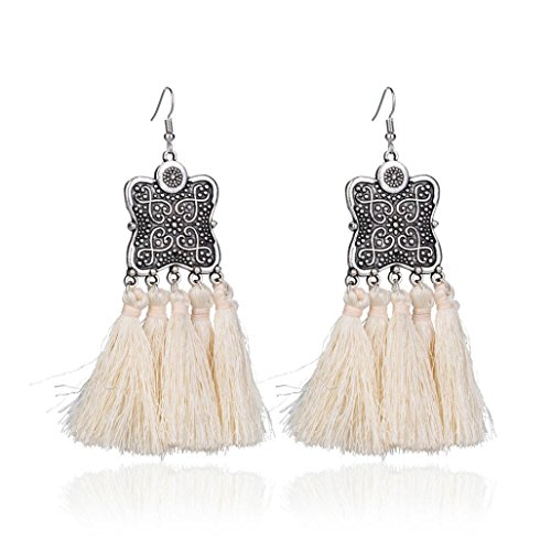 Stud Shield (Elogoog Women's Girls Elegant Jewelery Bohemia Ethnic Fan-Shape Fringe Tassels Dangle Stud Earrings Eardrop Necklace Rope Earrings (White (Shield)))