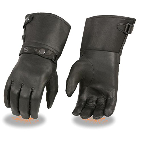 Men 's Thermal LinedレザーGauntletグローブWスナップ手首& Cuff (ブラック) 4X-Large SH264-BLK-4X-F 4X-Large 4X-Large B077T5MCCS
