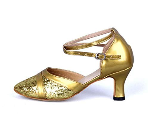 Heel Glitter Gold Pointed Ballroom Shoes CHENYANG Toe Latin Dance Womens Kitten qfPwXpx