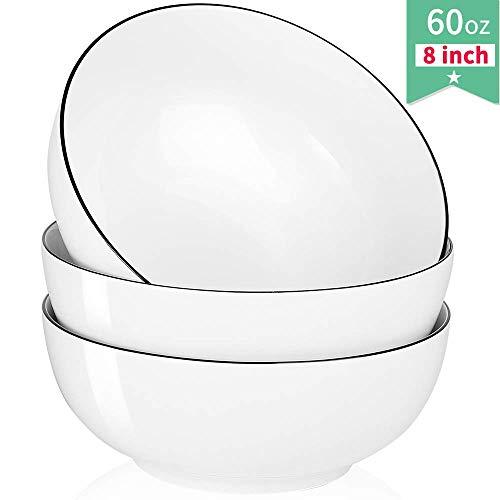 Salad Soup Ramen Bowl, 60 Oz Super Large Stackable Round White Fine Porcelain Cereal Pasta Serving Bowl Sets, 3 Pack