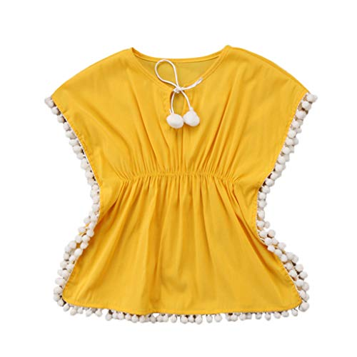 ❤Ywoow❤ for 0-5 Years Old Girls Summer Clothes Smock, Girls Bikini Beachwear Swimsuit Cover Up Kids Baby Clothes Smock (Yellow, 6-12 Months) ()