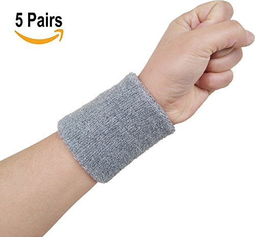 Hycome Wrist Sweatband in 14 Different Colors - Athletic Cotton Terry Cloth Wristbands Armbands(Gray 5 Pairs, Medium) Gray Wristband