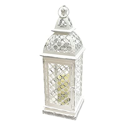 """Gerson 39926 - 21.5"""" x 7"""" Distressed White Metal Lantern Melted Edge Battery Operated LED Ivory Resin Candle Light with Remote Control"""