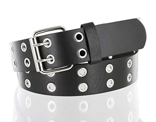 Solid Rich Fashion Color Double Grommet Twin Prong Leather Casual Jean Belt 1 1/2